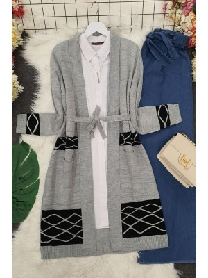 Double Color Layered Cardigan -Grey