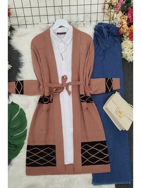 Double Color Layered Cardigan -Powder