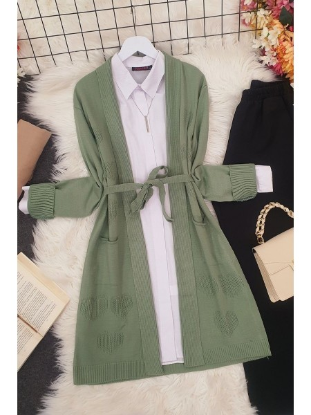 Heart Patterned Layered Cardigan -Green