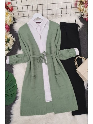 Belted Pompom Thin Cardigan -Green