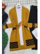 Double Color Layered Cardigan -Mustard