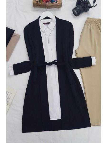 Hair Knit Folded Cardigan -Black