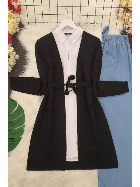 Belted Pocket Thin Cardigan -Black