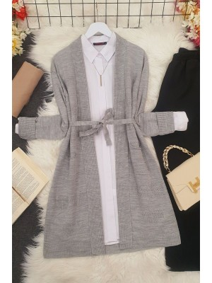 Heart Patterned Layered Cardigan -Grey