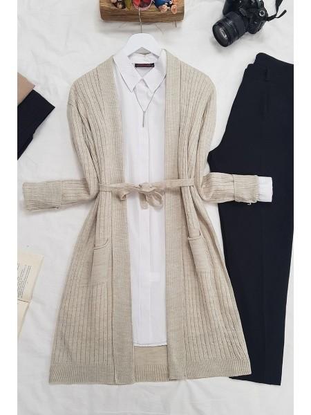 Hair Knit Folded Cardigan -Stone