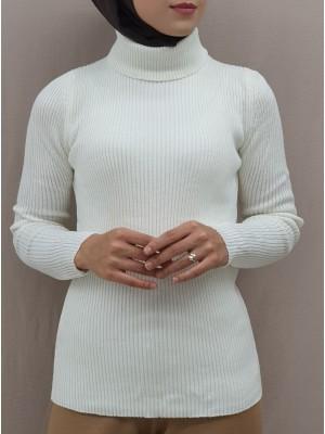 Accordion Knitted Turtleneck Body Sweater -Ecru
