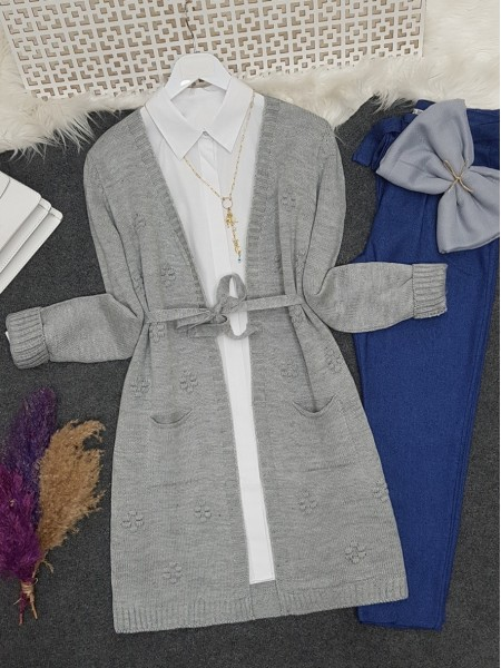 Pompom Detailed Belt Pocket Knitwear Cardigan   -Grey