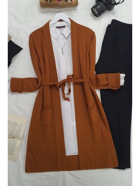 Hair Knit Folded Cardigan -Snuff