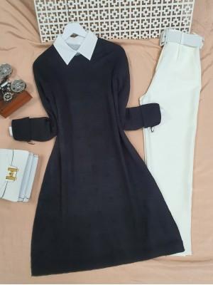 Crew Neck Pompom Slit Knitwear Tunic -Black