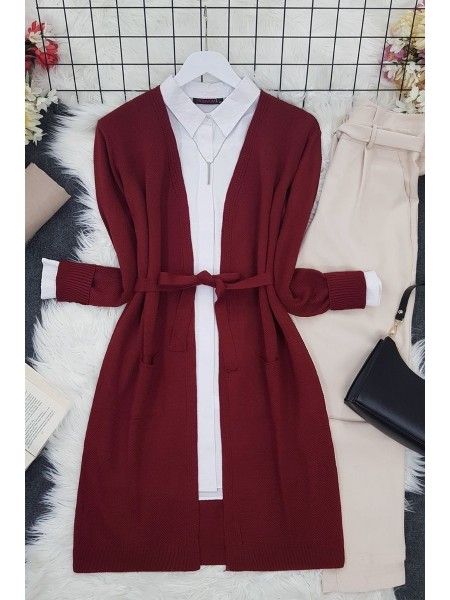 Belted Thin Brass Cardigan -Maroon