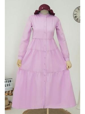 Partial Long Dress -Lilac