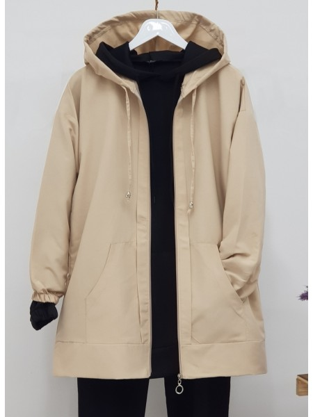 Hooded Zippered Sleeves Elastic Sweat -Mink color