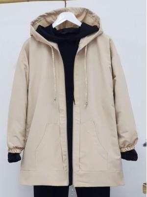 Hooded Zippered Sleeves Elastic Sweat -Stone