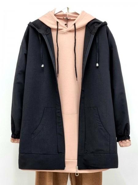 Hooded Zippered Sleeves Elastic Sweat -Black
