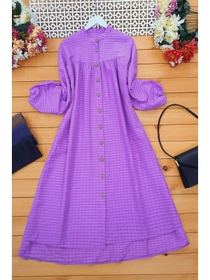 Wooden Buttoned Cress Tunic  -Lilac