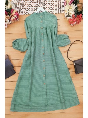 Wooden Buttoned Cress Tunic -Green