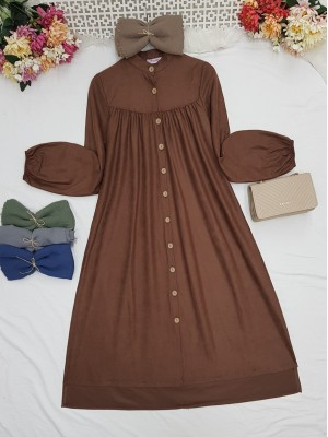Robadan Pleated Buttoned Pocketed Suede Tunic -Brown