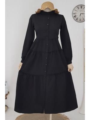Partial Long Dress -Black