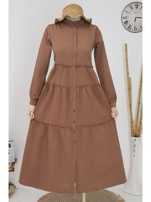 Partial Long Dress -Brown