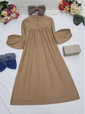 Robadan Pleated Buttoned Pocketed Suede Tunic -Mink color