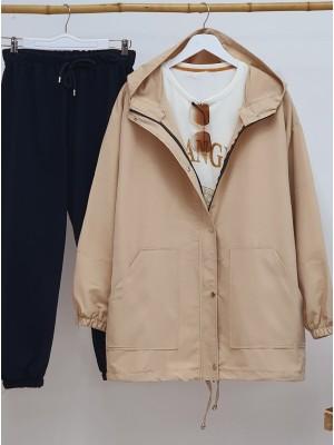 Kapşonlu Boydan Çıtçıtlı Kolları Lastikli Ceket -Taş