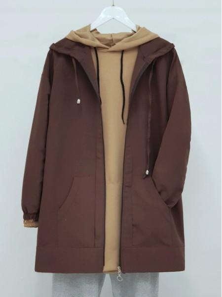 Hooded Zippered Sleeves Elastic Sweat -Brown