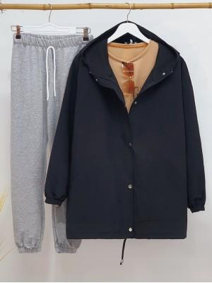 Kapşonlu Boydan Çıtçıtlı Kolları Lastikli Ceket-Siyah