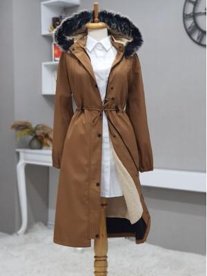 Pull-out Hooded Sewing Detail Bondit Coat -Cinnamon