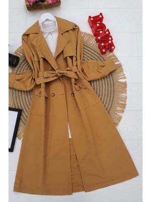 Belted Buttoned Cape -Mink color