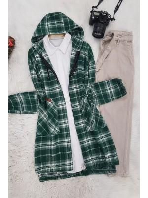Hooded Cachet Cape -Green