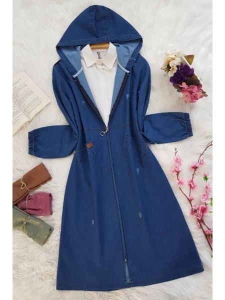 Hooded Long Denim Jacket  -Navy blue