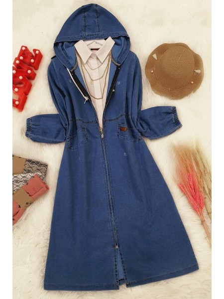 Kapşonlu Uzun Kot Ceket -Blue