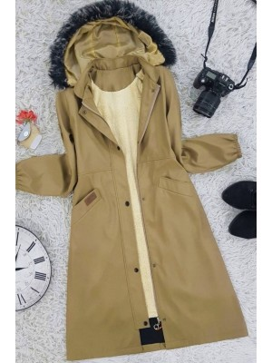 Hooded Fur Bondic Coat     -Mustard