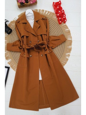 Belted Buttoned Cape -Snuff