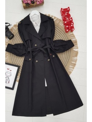 Belted Buttoned Cape -Black