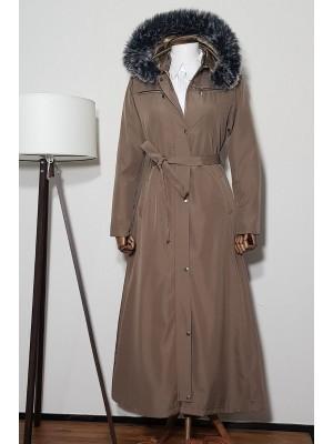 Long Bondit Coat With Fur Hood  -Mink color