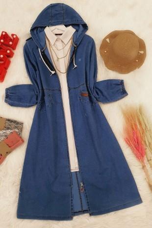 Kapşonlu Uzun Kot Ceket -Mavi