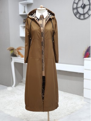 Long Trench Coat With Hooded Sleeve And Elastic Skirt -Snuff
