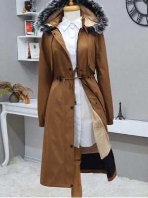 Bolero Detailed Pull-out Hooded Bondit Coat -Cinnamon