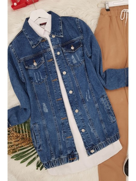 Snow Washed Denim Jacket  -Blue