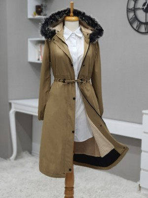 Pull-out Hooded Sewing Detail Bondit Coat -Mink color