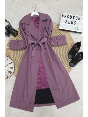 Belted Buttoned Bondit Cape - Purple