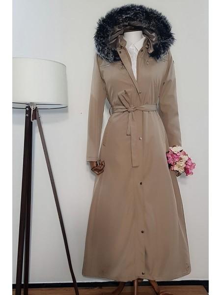 Long Bondit Coat With Fur Hood -Stone