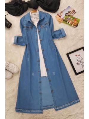 Zipper Detail Long Denim Jacket  -Light blue