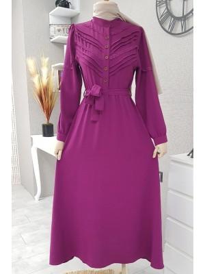 Önü Güpürlü Uzun Ayrobin Elbise -Fuchsia