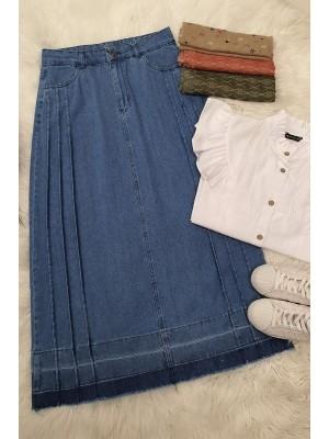 Folded Denim Skirt -Blue