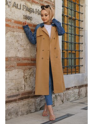 Jeans Detailed Long Trench Coat -Mink color