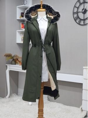 Pull-out Hooded Sewing Detail Bondit Coat -Khaki