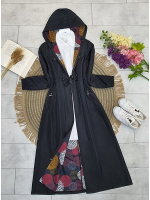 Hooded Tunnel Lace-up Zippered Trench Coat -Black