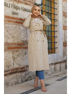 Belted Buttoned Bondit Cape -Stone